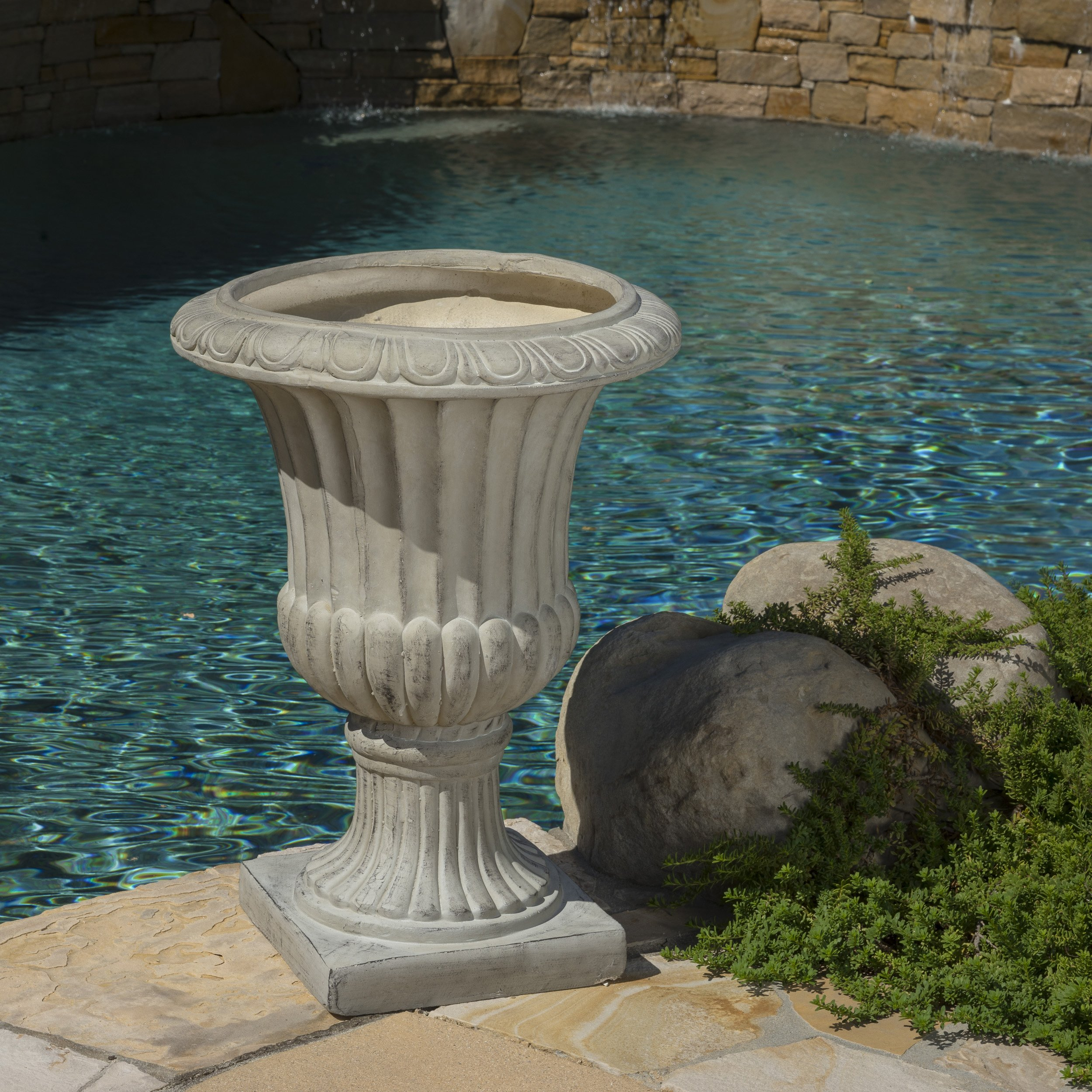 Outdoor/Indoor Antique Green Stone Finish Planter/Urn