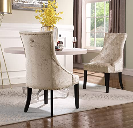 Wondrous Amazon Com Iconic Home Raizel Dining Side Accent Chair Caraccident5 Cool Chair Designs And Ideas Caraccident5Info