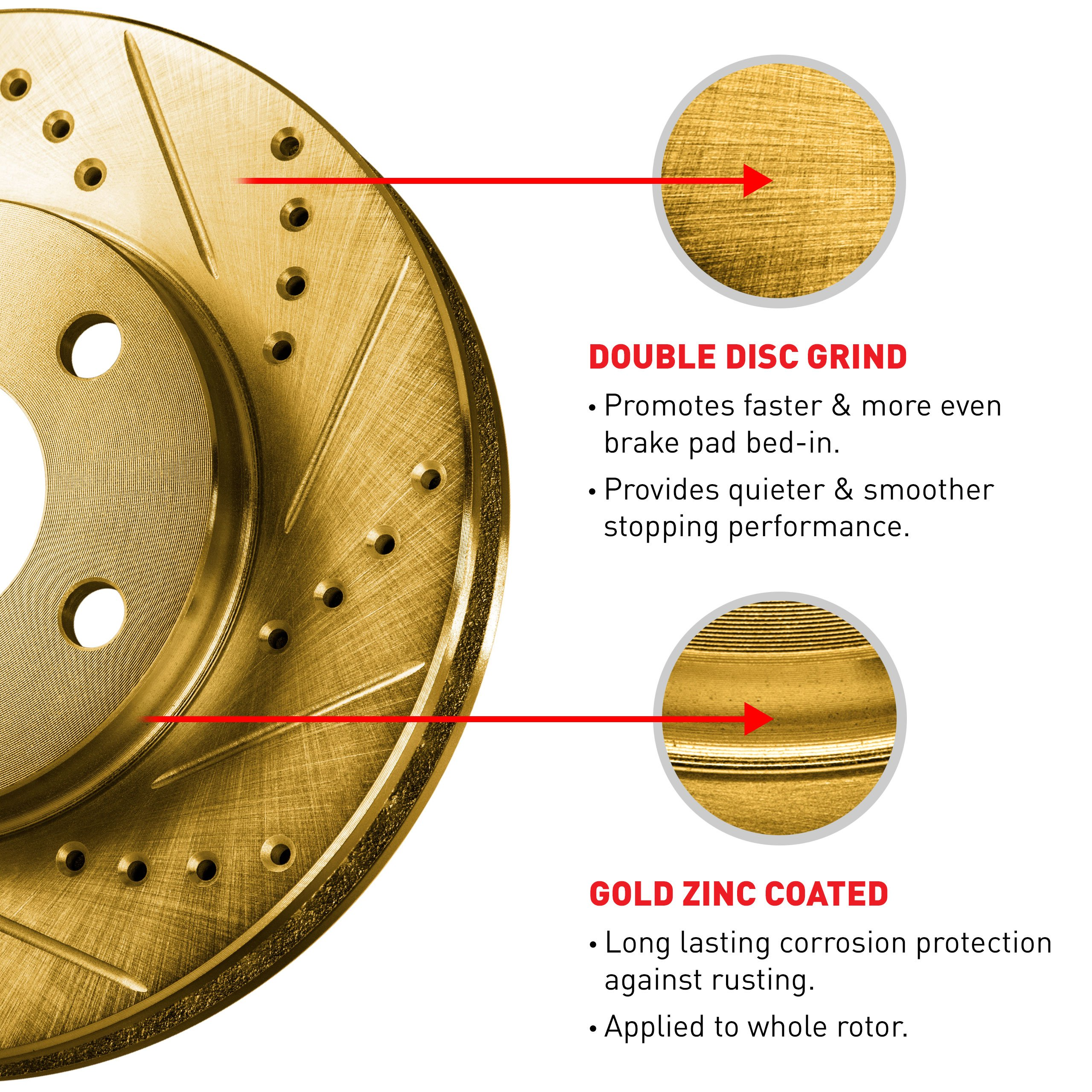 For 2007-2015 Toyota Tundra Front Rear eLine Gold Drill Slot Brake Rotors