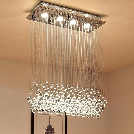 Saint Mossi Modern K9 Crystal Raindrop Chandelier Lighting Flush ...