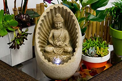 Marvelous Alpine WIN322 Buddha Tabletop Fountain With LED Light