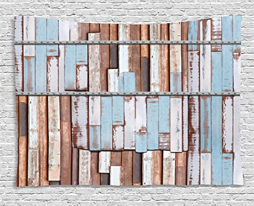 Ambesonne Rustic Tapestry, Nautical Long Wooden Planks Tree Designs on with Rusty Screws Art Print, Wide Wall Hanging for Bedroom Living Room Dorm, 60 X 40 , Mauve Teal