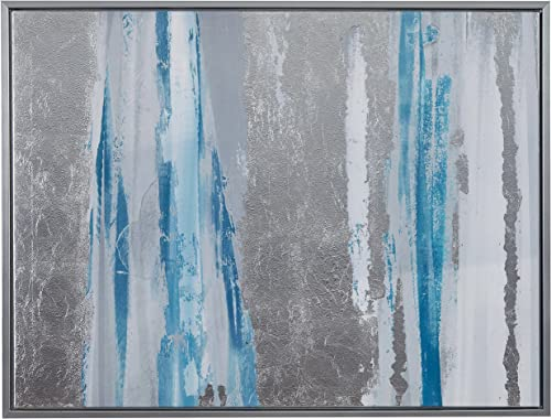 Amazon Brand Stone Beam Modern Blue and Silver Abstract Print Wall Art