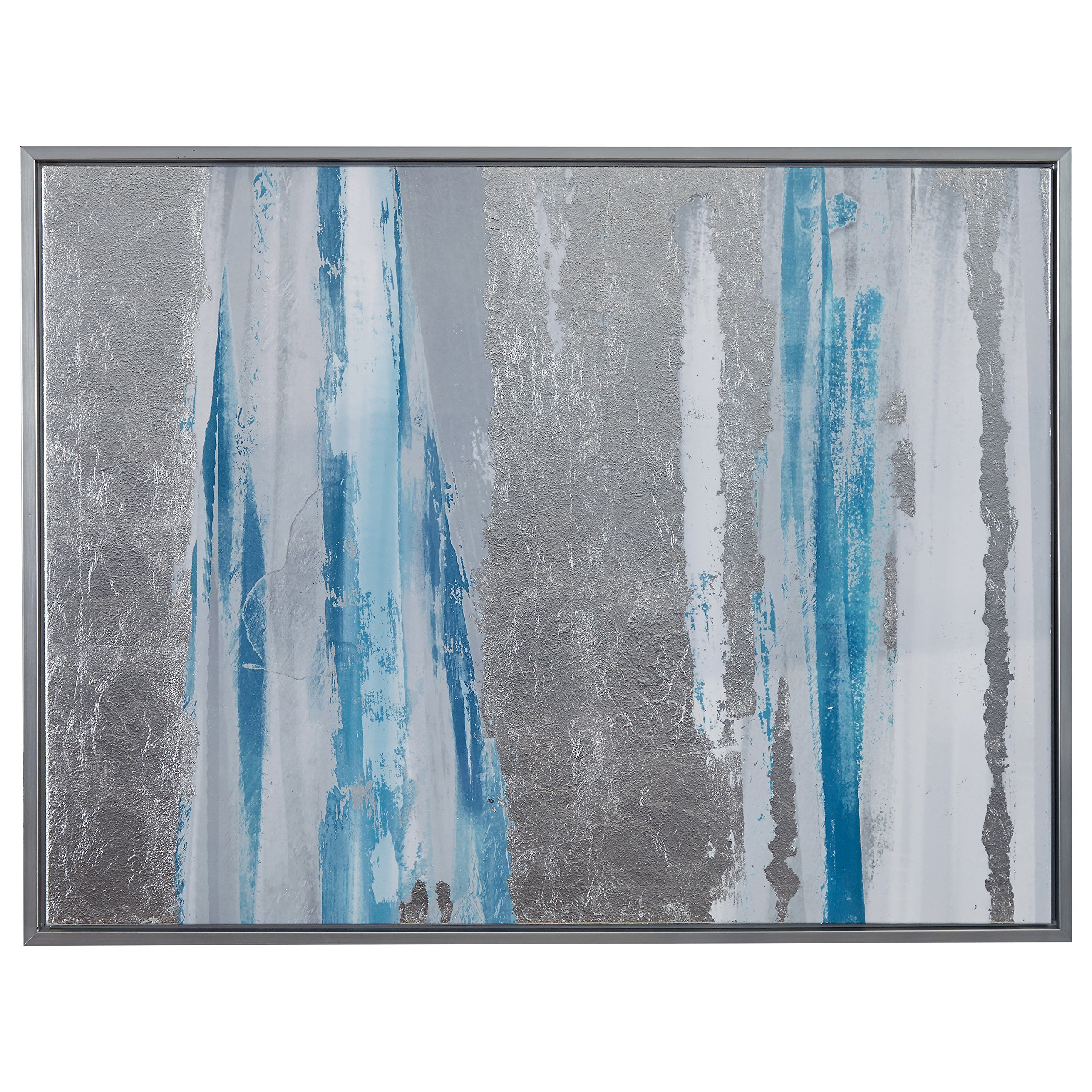 Modern Blue and Silver Abstract Print, Silver Frame 41.75'' x 31.75'' by Stone & Beam