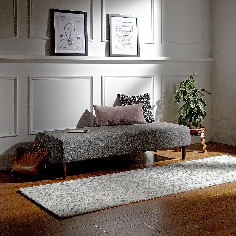 Marchio  -/Rivet panchina ottomana modello Ava stile mid-century colore grigio chiaro larghezza 160 cm