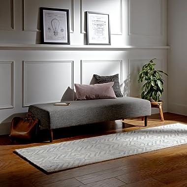 Rivet Modern Geometric Wool Area Rug, 4 x 6 Foot, Blue