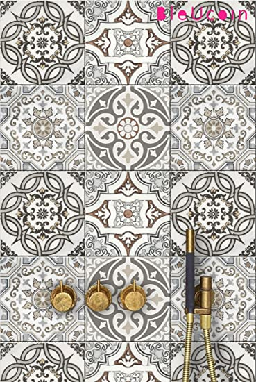 Art Deco Tile Sticker For Kitchen And Bathroom Backsplash Stair Riser Stickers Peel