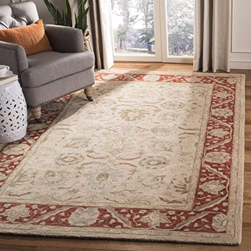 Safavieh Anatolia Collection AN569A Handmade Traditional Oriental Taupe and Red Wool Area Rug 3 x 5
