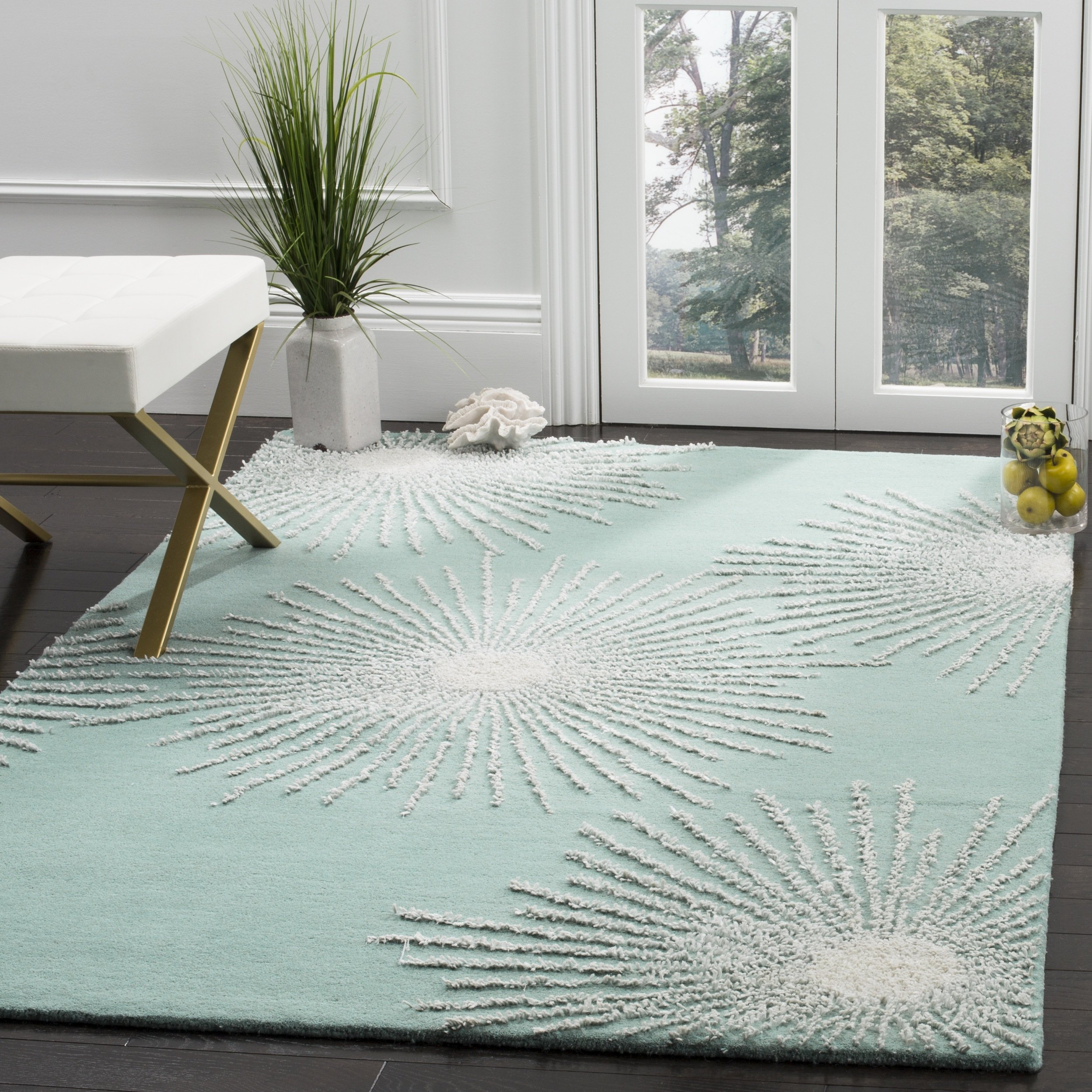 Safavieh Soho Collection SOH712T Handmade Fireworks Light Teal and Multicolored Premium Wool Square Area Rug (6' Square)