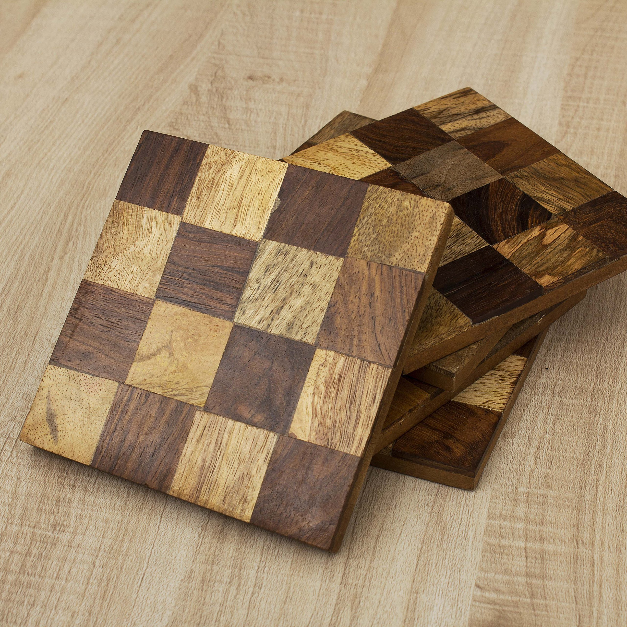 Rusticity Wood Coaster Set of 6 - Square Design | Handmade | (3.7x3.7 in)
