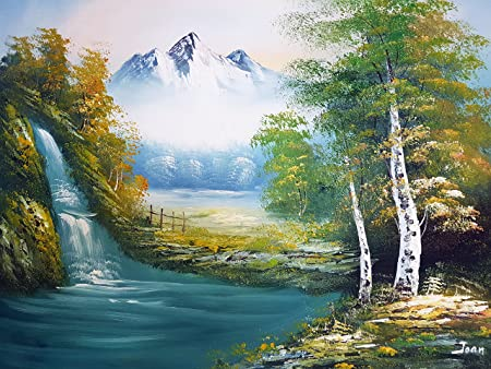 large fine art oil on canvas painting nature mountain scenery