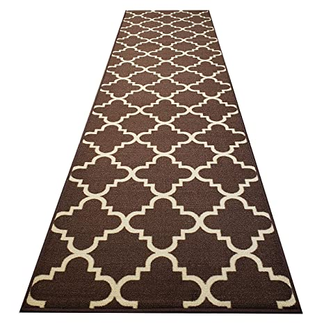 Custom Cut 22-inch Wide by 1-Foot Long Runner, Brown Moroccan Trellis Non  Slip, Non-Skid, Rubber Backed Stair, Hallway, Kitchen, Carpet Runner Rug -  ...