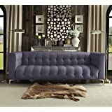 Iconic Home Capone Modern Biscuit Tufted Grey Linen Sofa with Silver Tone Metal Y-Legs