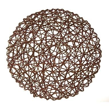 Round Paper Fiber Woven Place Mats, 100% Paper Fiber 15-Inch , Natural , Set of 12 pcs (Brown)