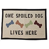 PetRageous 12048 One Spoiled Dog Jumbo Tapestry Non-Skid Machine Washable Placemat for Pet Feeding Areas with Rubber…
