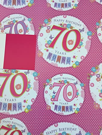 Ladies Happy 70 70th Birthday Gift Wrapping Paper