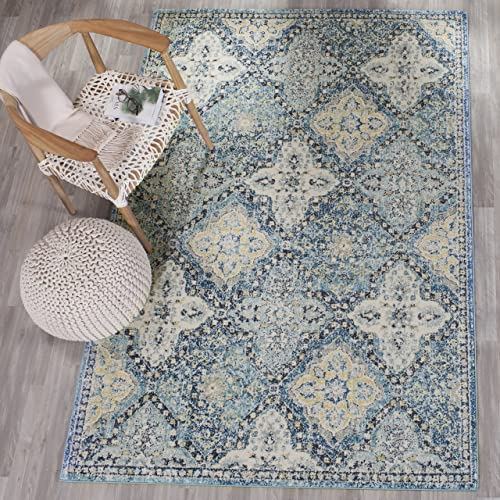 Safavieh Evoke Collection EVK274C Contemporary Trellis Light Blue and Ivory Area Rug 11' x 15'