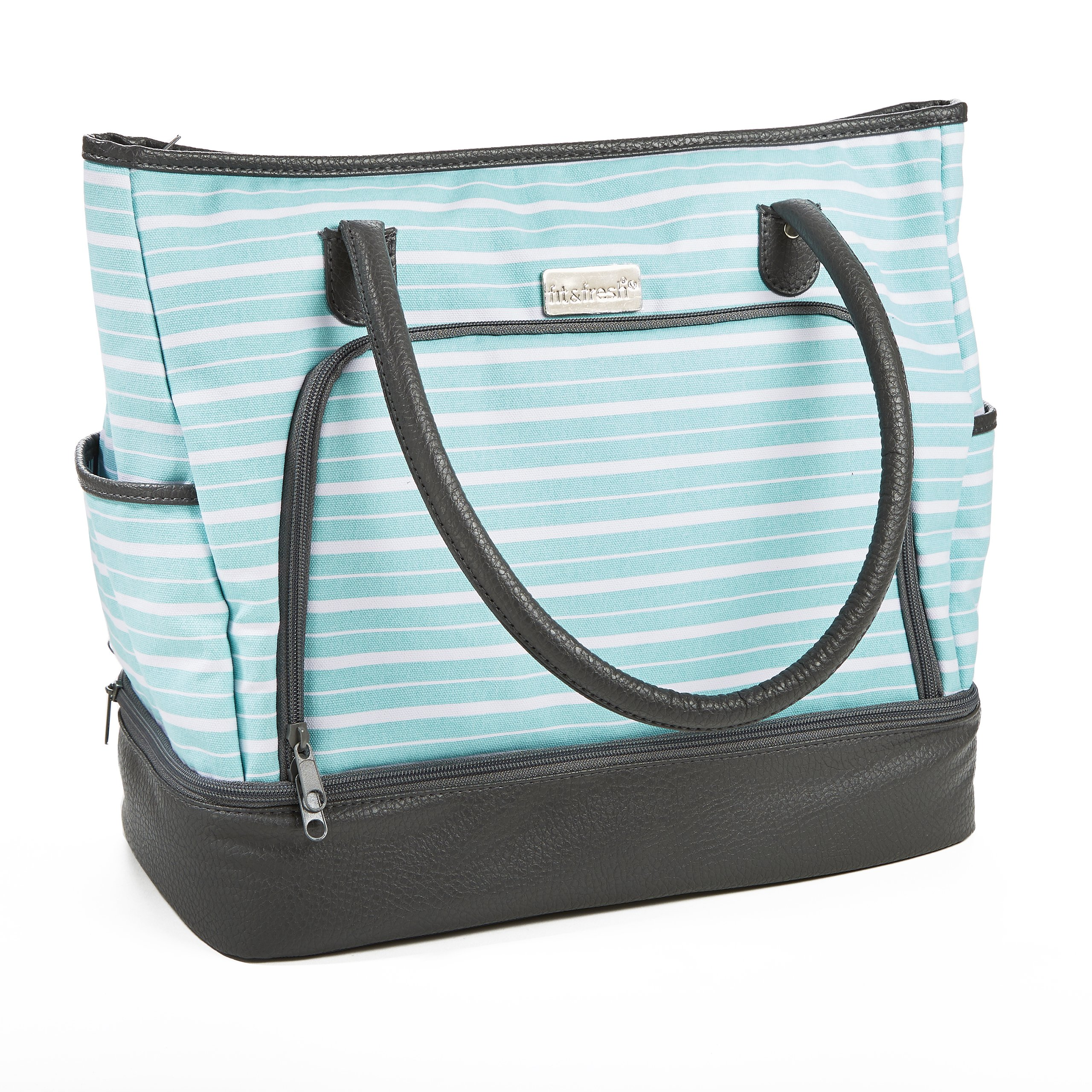 Fit & Fresh Voyager Travel/Commuter Tote Bag with Insulated Section for Lunch, Snacks and Drinks, Carry On, Zippered Shoulder Bag, Aqua Uneven Stripes by Fit & Fresh