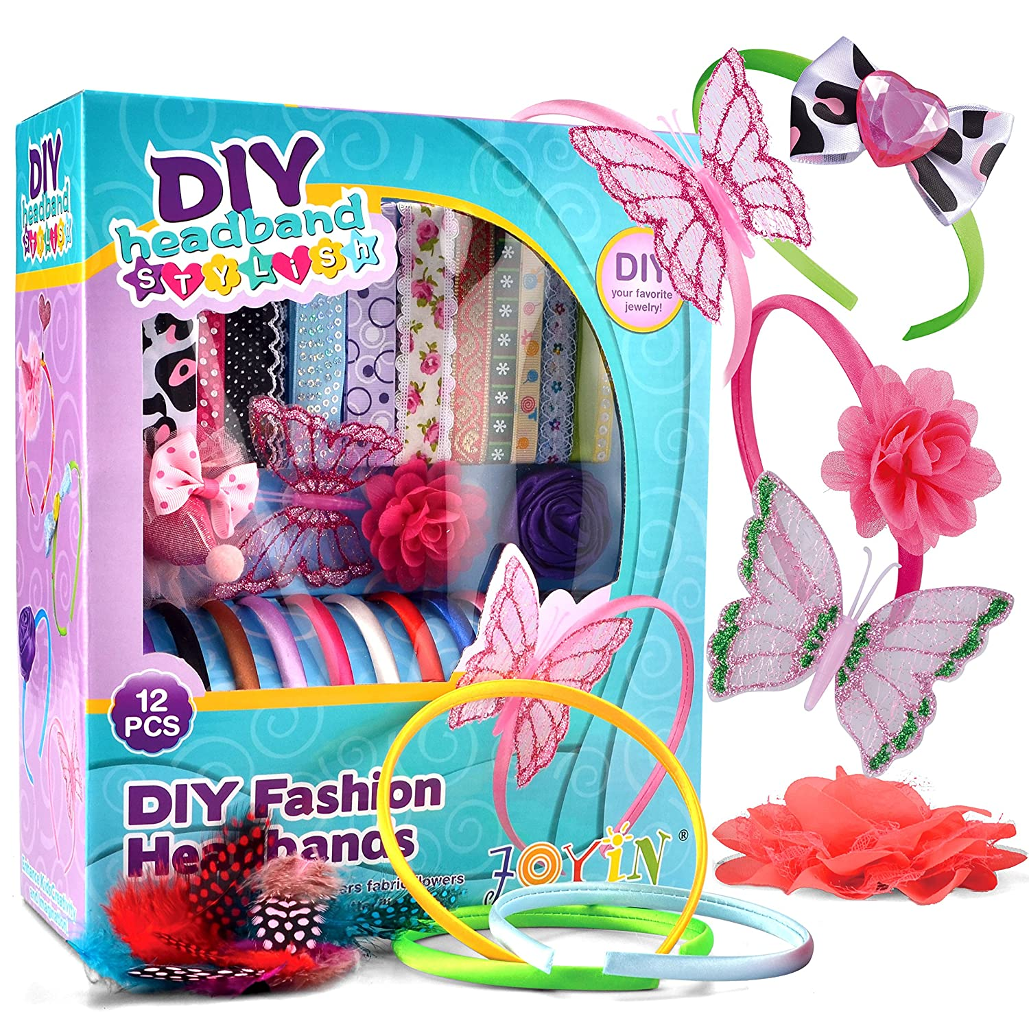 Joyin Toy DIY Girl 12 Satin Fashion Headbands Kids Art and Crafts Kits Girls Jewelry Making Kit Decorated with Hair Accessories