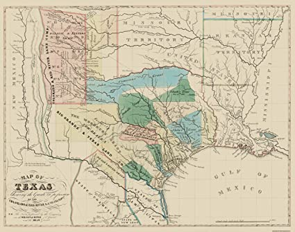 State Map Of Tx.Amazon Com Old State Map Texas Colorado With Red River Land