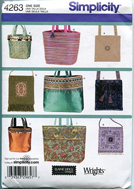 Amazon.com: Simplicity 4263 Sew Pattern BAGS Handbags Purses - 9 ...