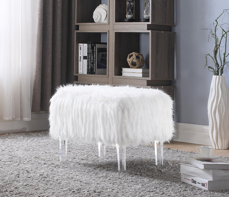 Iconic Home FON2645-AN Fiorino Modern Contemporary Faux Fur Acrylic Leg Bench, White