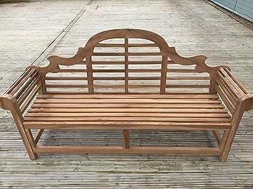 patio essentials lutyens solid teak 4 seat garden bench 1 8 m