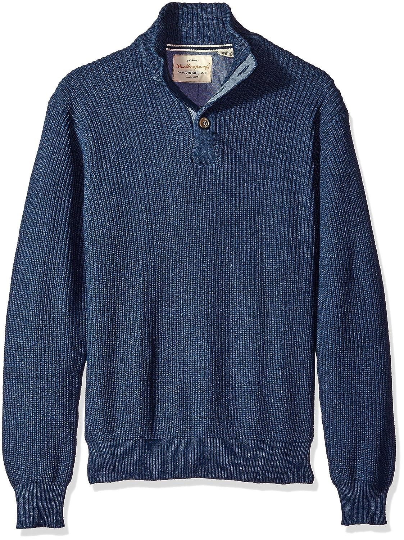 Weatherproof Vintage Men's Shaker Button Mock Sweater Dark Indigo Heather Small F65976AM