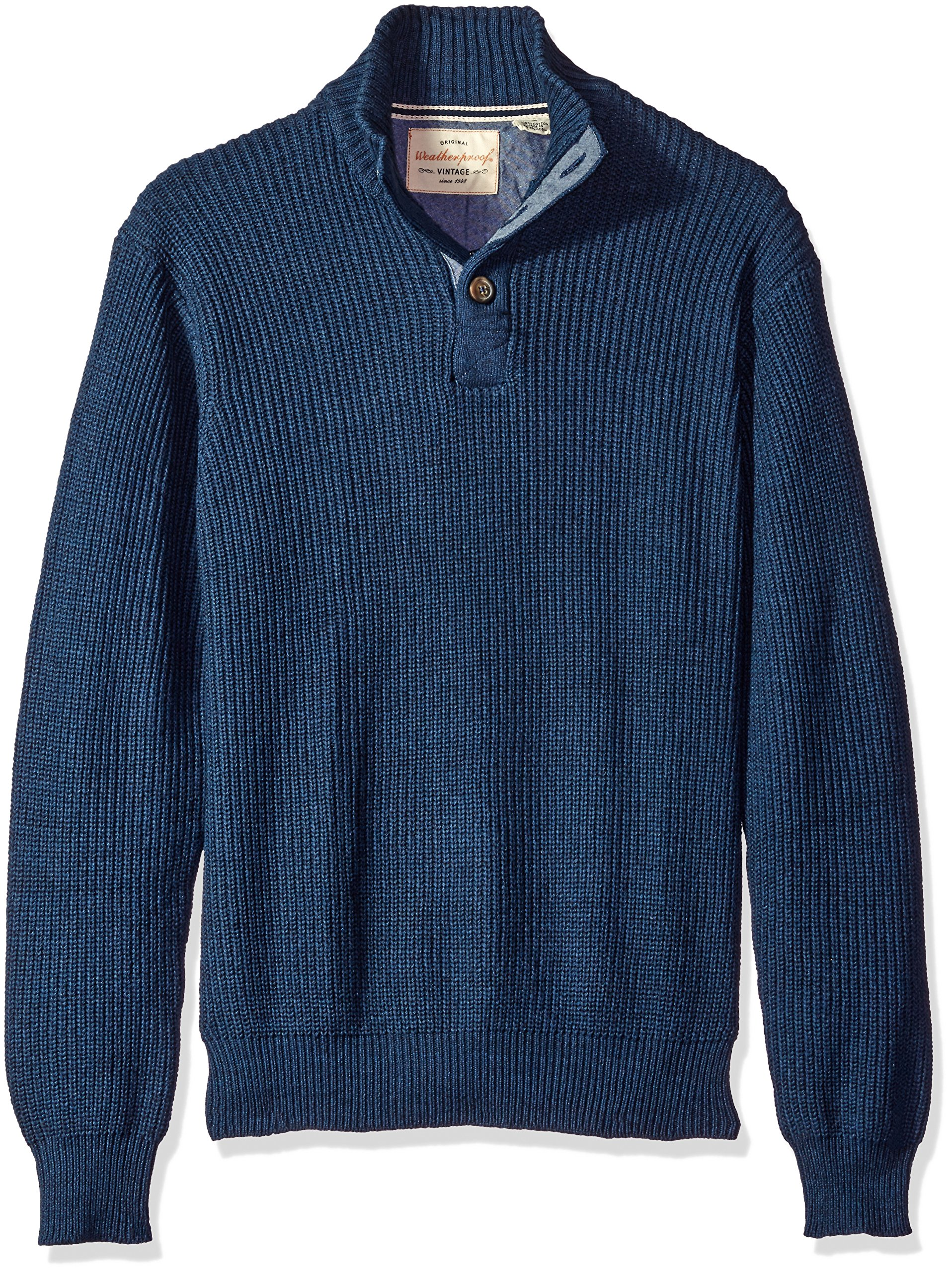 Weatherproof Vintage Men's Shaker Button Mock Sweater, Dark Indigo Heather, Small