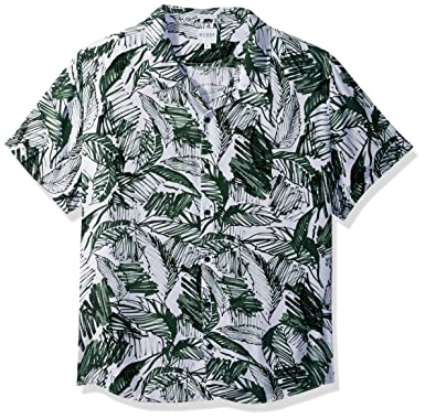 Guess Mens Short Sleeve Palm Marker Print Shirt, Green, ...