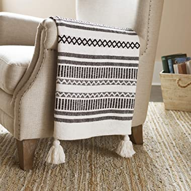 Stone & Beam Casual Jagged Global Design Throw Blanket - 60 x 50 Inch, Black / Ivory