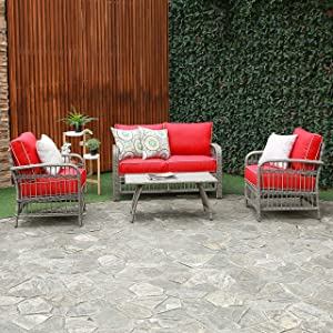 Creative Living AT0103 Rowley Patio Furniture Sofa Set 4 PC Loveseat Chat Group, Red