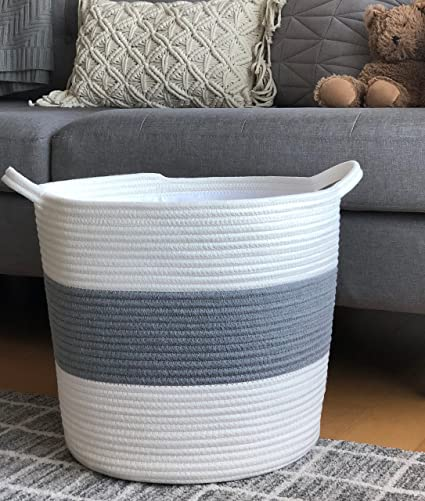 Amazon Com Large Cotton Rope Storage Basket Cotton Liner 16