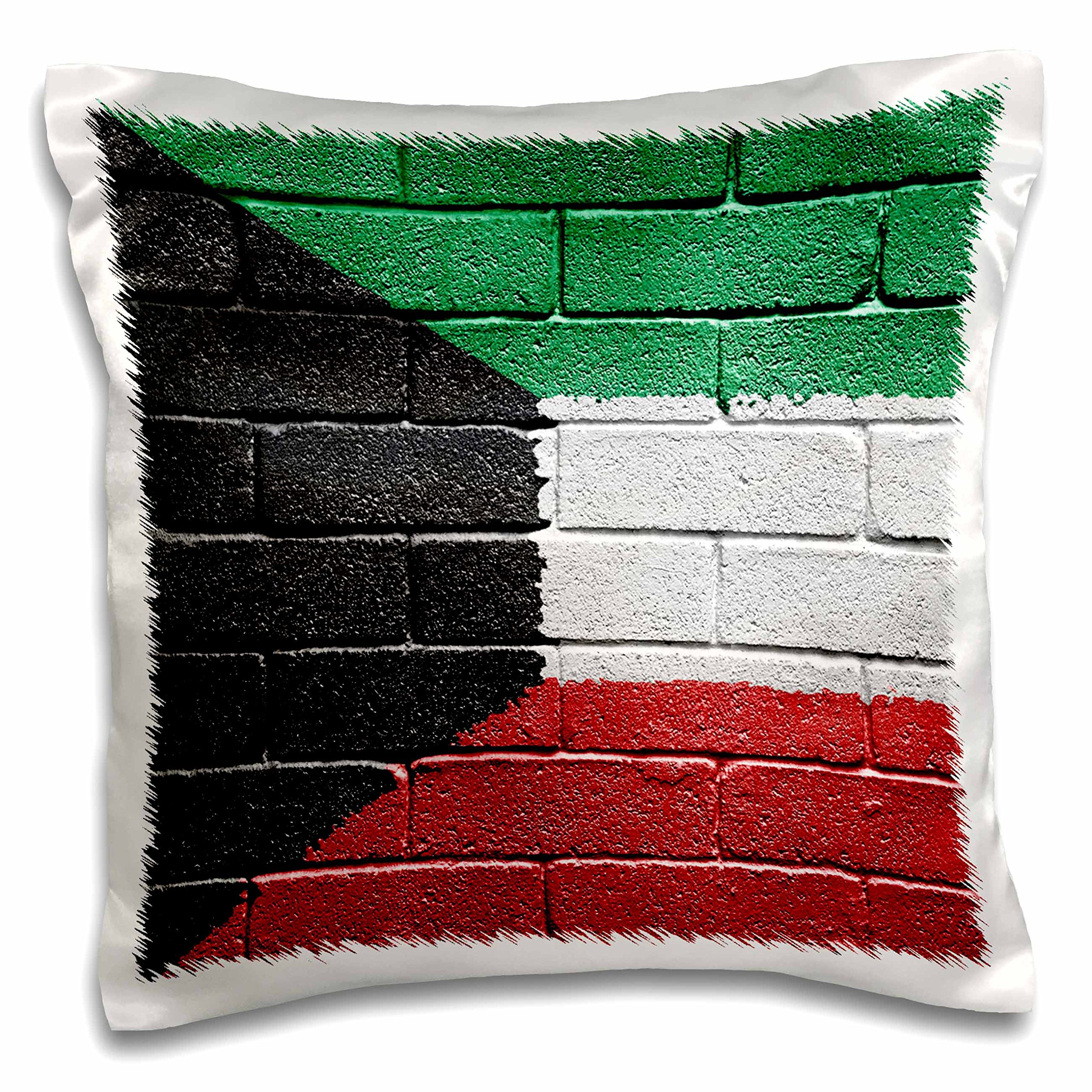3dRose National flag of Kuwait painted onto a brick wall Kuwaiti - Pillow Case, 16 by 16-inch (pc_156919_1)
