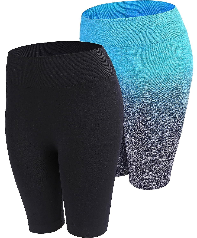 "Freeskin High Waist Ombre Shorts 7.5/""Summer Yoga Running Bike Active Shorts Sport Short Power Flex Tummy Control"