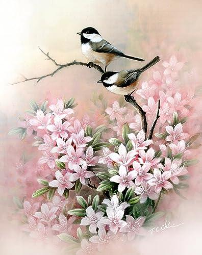 Amazon love birds and pink flowers art print of watercolor love birds and pink flowers art print of watercolor painting chickadee nature mightylinksfo