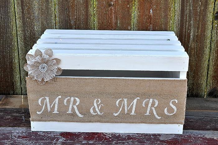 Amazon Com Burlap And Lace Wedding Cake Crate Mr And Mrs Wedding