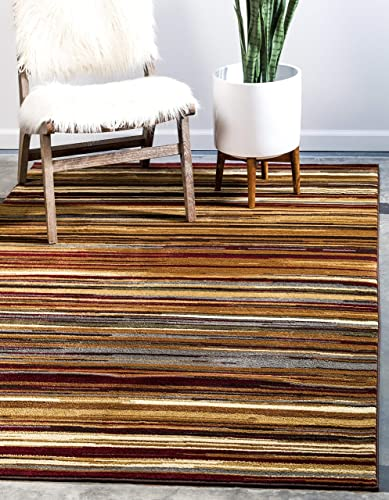 Unique Loom Barista Collection Modern Multi Striped Contemporary Beige Area Rug 8' 0 x 10' 0