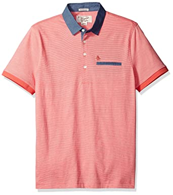6c914b9710 Original Penguin Men's Short Sleeve Yarn Dyed Stripe Polo W/Chambray  Collar, Spiced Coral, S: Amazon.co.uk: Clothing