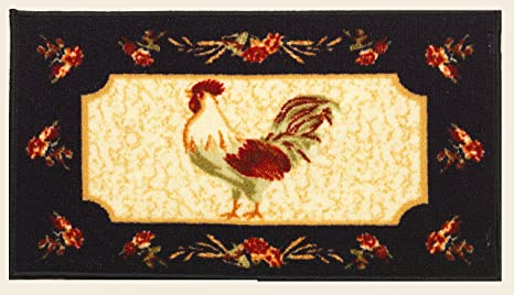 Amazon Com Kashi Home Kitchen Rug Area Mat Carpet Non Skid Latex Back Rooster 20x40 Rectangle