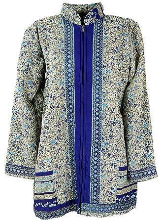 Guru Shop Boho Seidenbrokat Jacke aus Indien, Sareeseide