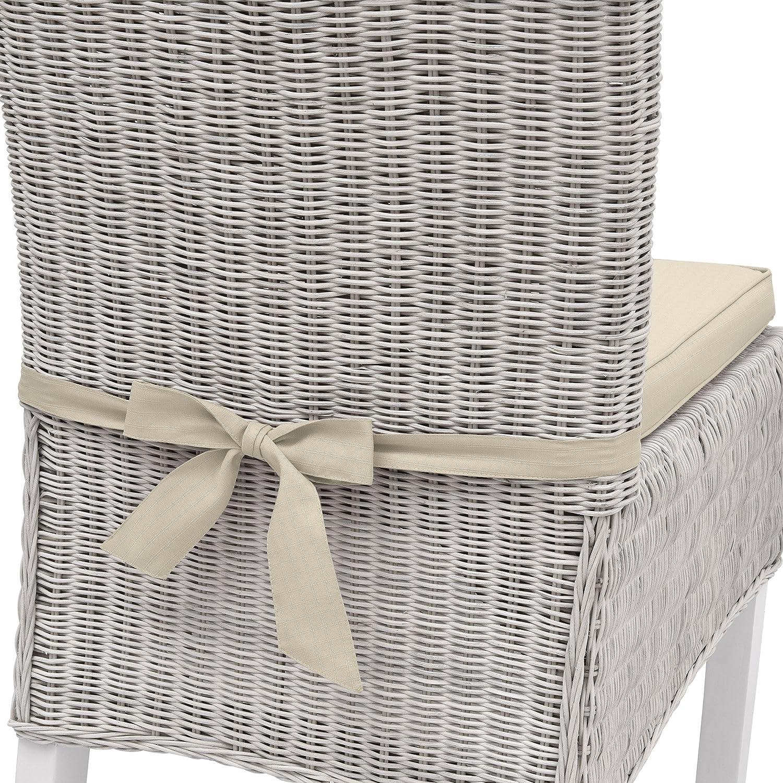 Beautissu Galette de chaise Pia 6x6x6cm Nature - déhoussable