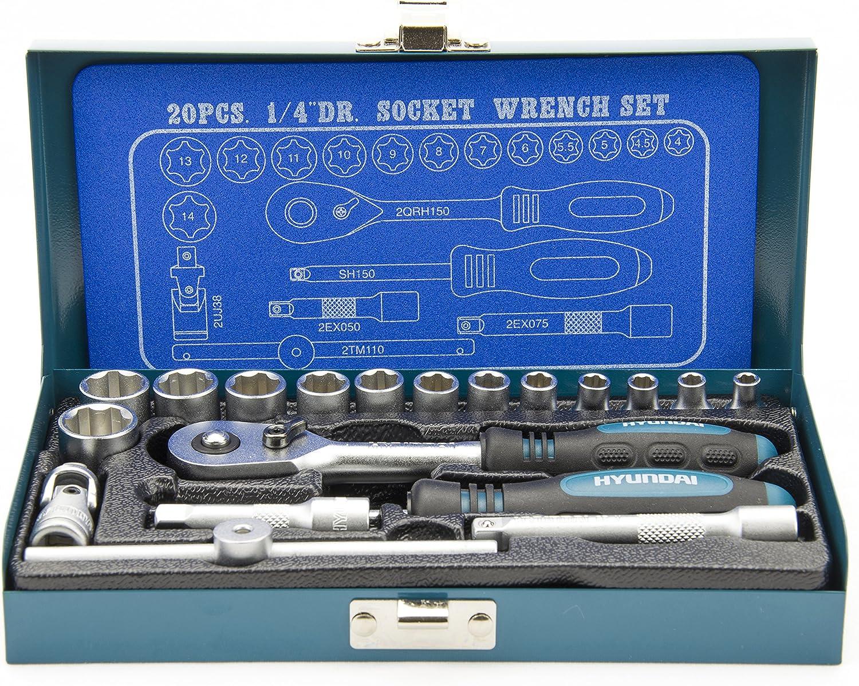 Hyundai Steckschlüsselset K20 1 4 Zoll Steckschlüsselsatz 20 Teilig 72 Zahn Umschaltknarre Super Lock Steckschlüsseln Nusskasten Set Ratschenset Knarrenkasten Werkzeugkoffer Werkzeugset Baumarkt