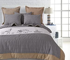Levtex home Animal Sketch Quilt Set, Full/Queen, Natural, Grey, Taupe