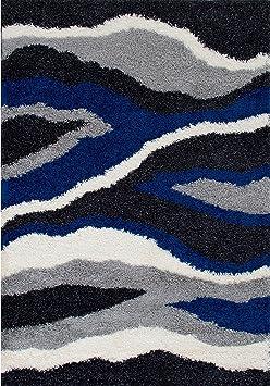 Amazon Com Overstock Lyke Home Anthracite Waves Design 5x7 Area