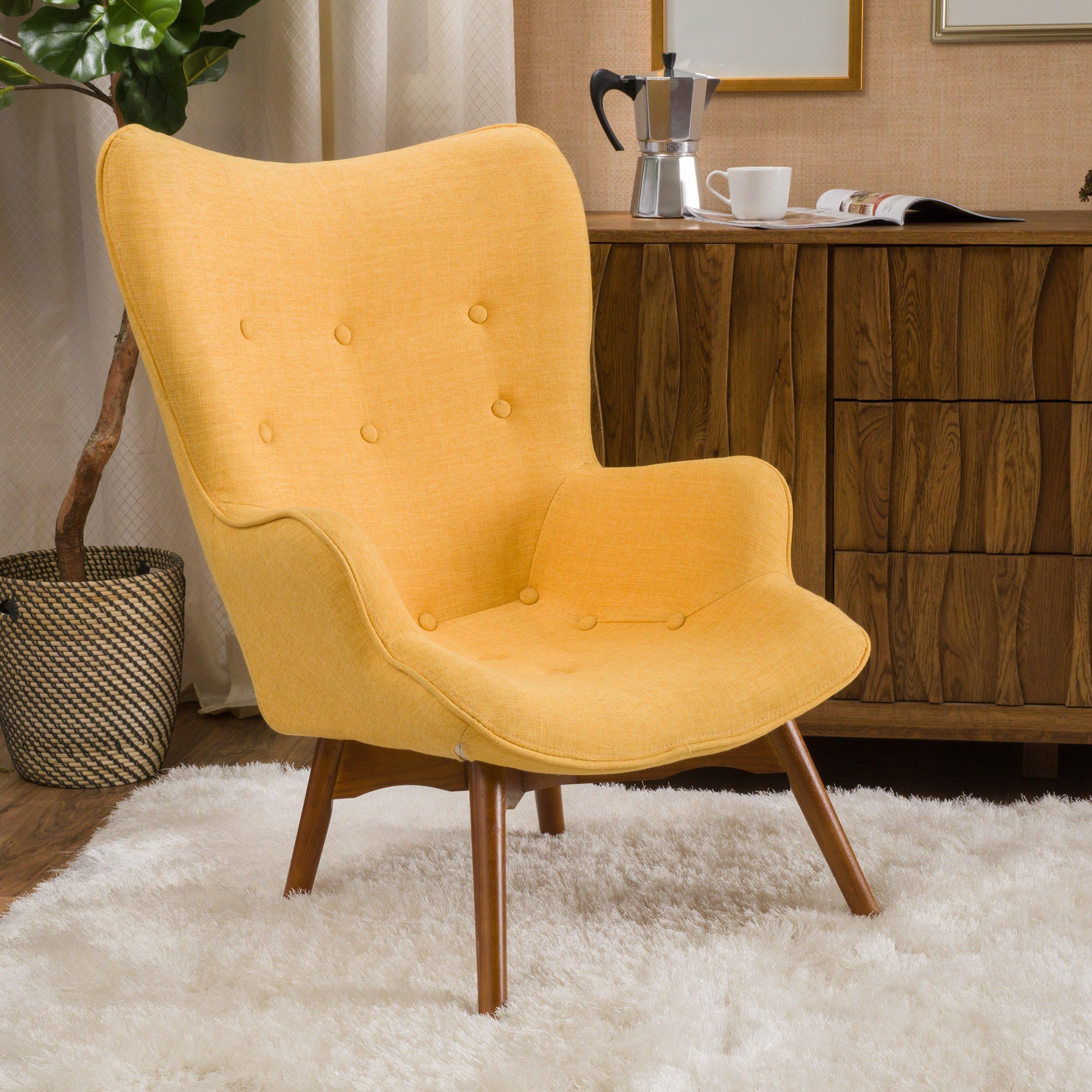 Christopher Knight Home Hariata Fabric Contour Chair, Muted Yellow by Christopher Knight Home