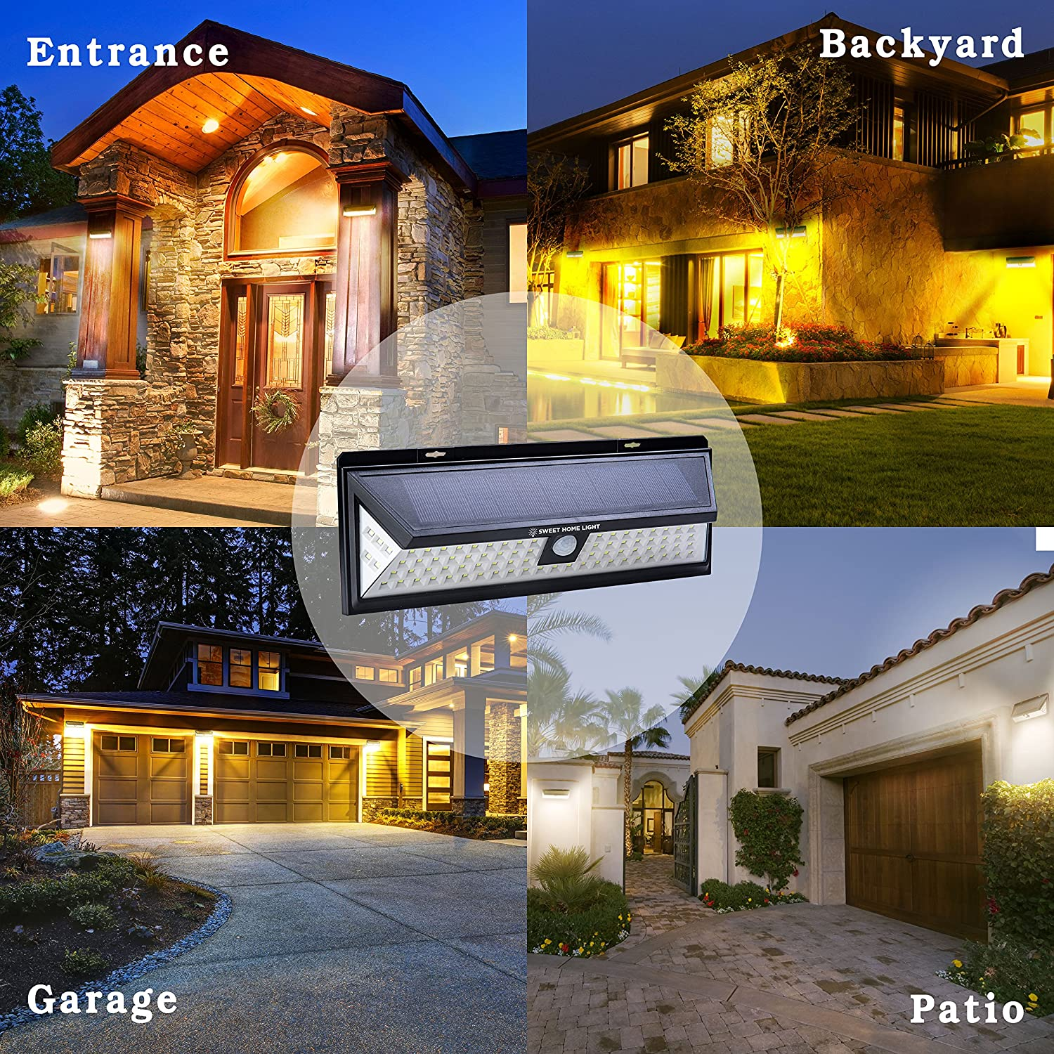 Solar Powered Security Lights with 86 LED Outdoor Motion Sensor Light for Outside Backyard Patio Deck or Porch Lighting from SweetHomeLight