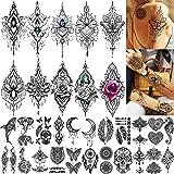 TASROI 32 Sheets Sexy Black Henna Temporary Tattoos For Women Girls Mehnid Lace Tatoo Sticker Neck, Mandala Flower Butterfly