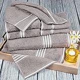 Bedford Home Rio 8 Piece  Cotton Towel Set - Silver