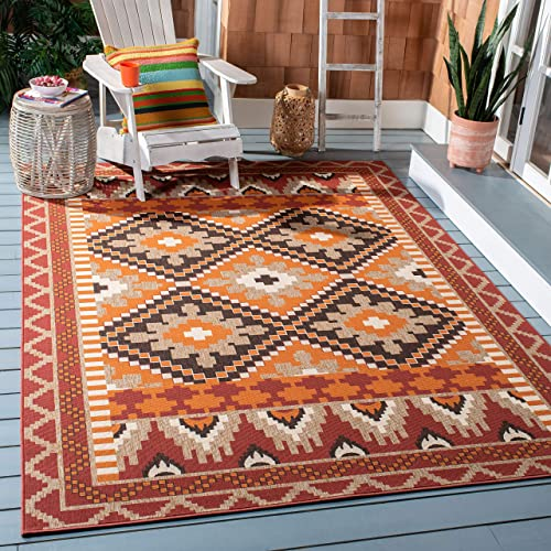 Safavieh Veranda Collection VER096-0334 Indoor Outdoor Area Rug, 8 x 11 , Rust Red